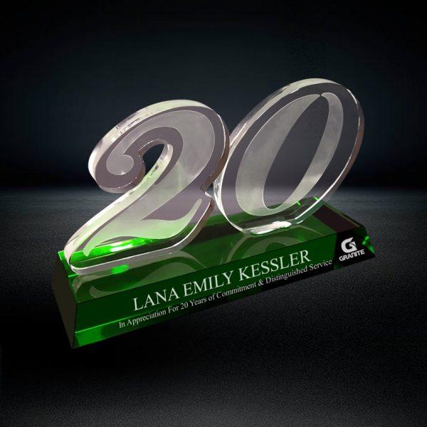 crystal 20 years service award