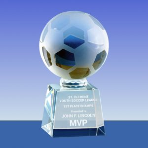 crystal soccer trophy award