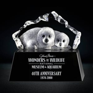 3D Crystal Baby Seals Sculpture Crystal Iceberg Award