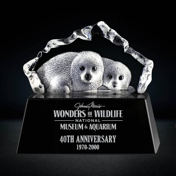 3D Crystal Baby Seals Sculpture Crystal Iceberg Award