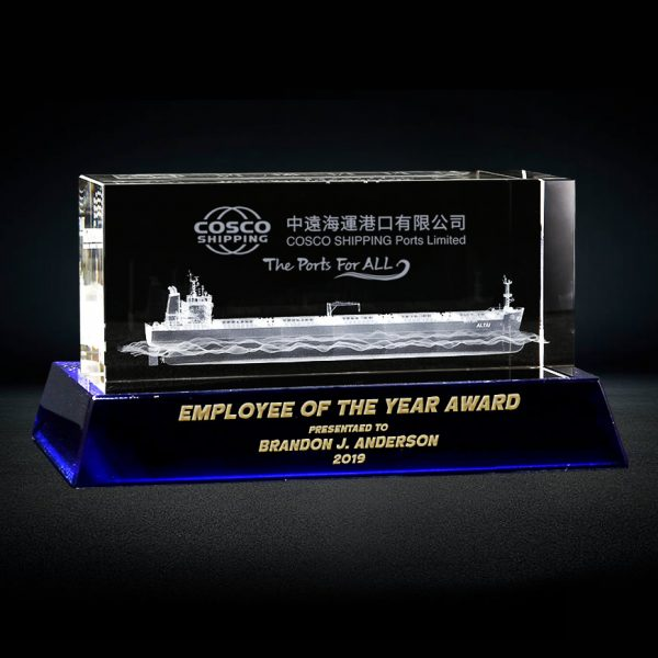 3D Laser Container Ship Model inside Crystal Rectangle Cube