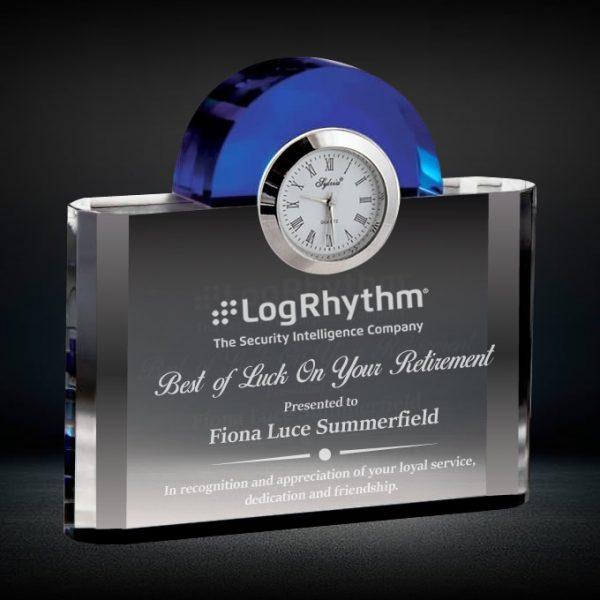 Blue Arch Crystal Clock Award