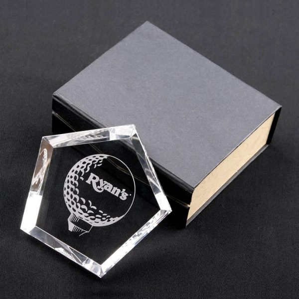 Crystal Pentagon Paperweight