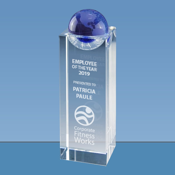 blue crystal globe tower award