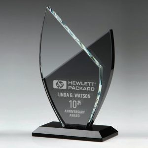 Clear and Black Crystal Award Trophy