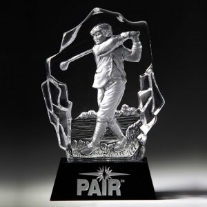 Crystal Male Golfer Sculpture Trophy Award