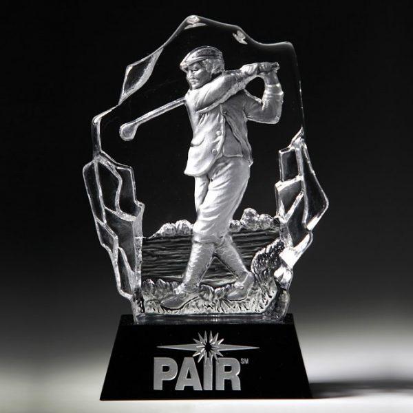 Crystal Male Golfer Sculpture Trophy Award