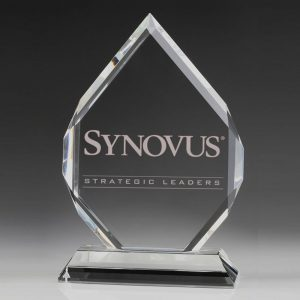 faceted diamond peak award crystal plaque