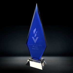 Blue Diamond Crystal Plaque Award