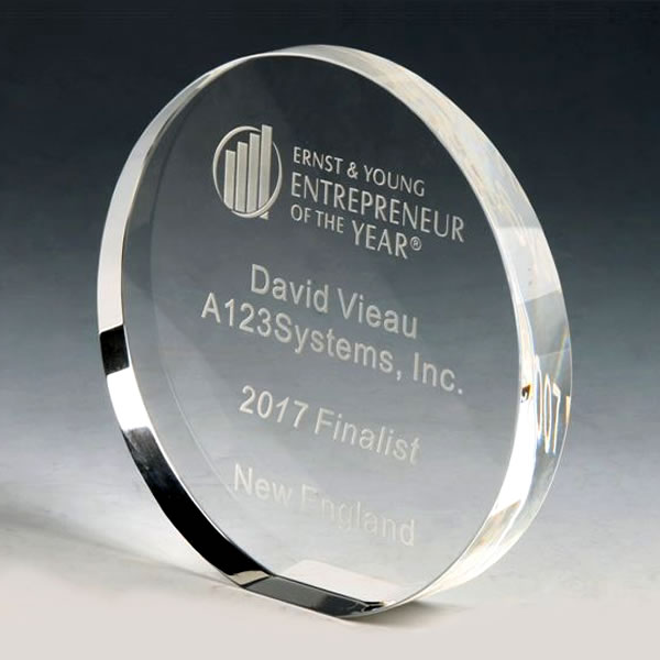 Clear Crystal Round Stand Up Circle Award