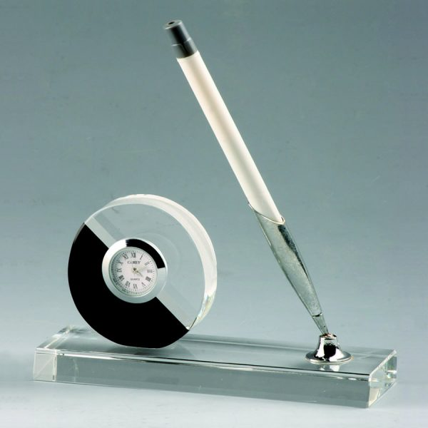 Crystal Desk Pen Stand with Crystal Clock