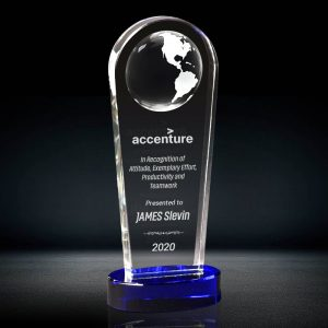 Crystal Globe Tower Plaque Award