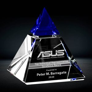 blue crystal pyramid award