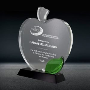 crystal apple plaque award