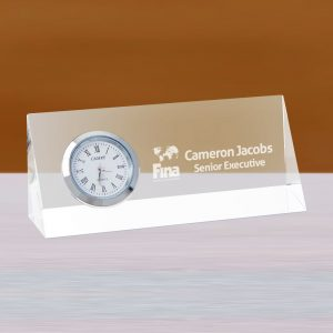 Personalized Crystal Desk Clock Nameplate