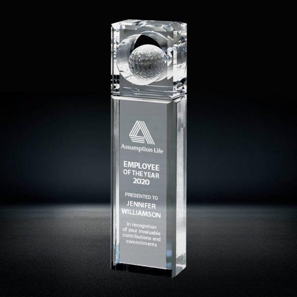 crystal golf ball tower award
