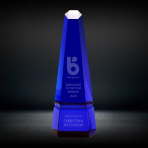 blue crystal hexagon obelisk tower award