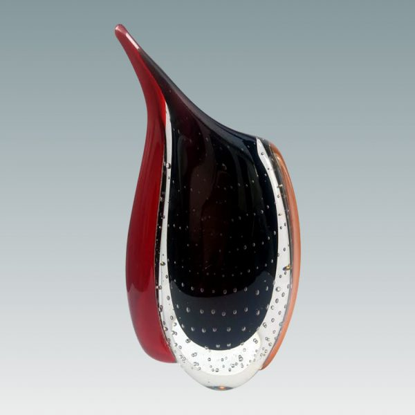hand blown teardrop art glass vase sculpture