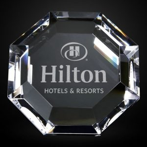 octagon shape crystal paperweight