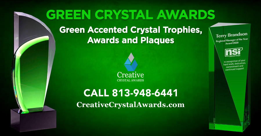 6 Amazing Collection of Green Crystal Awards & Trophies