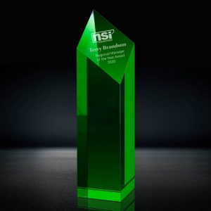 green crystal diamond tower award