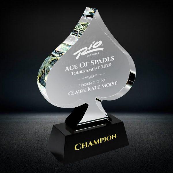 crystal poker spade playing card award