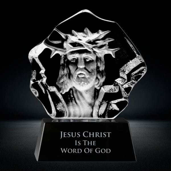 3d laser etched lord Jesus Christ face sculpture crystal award