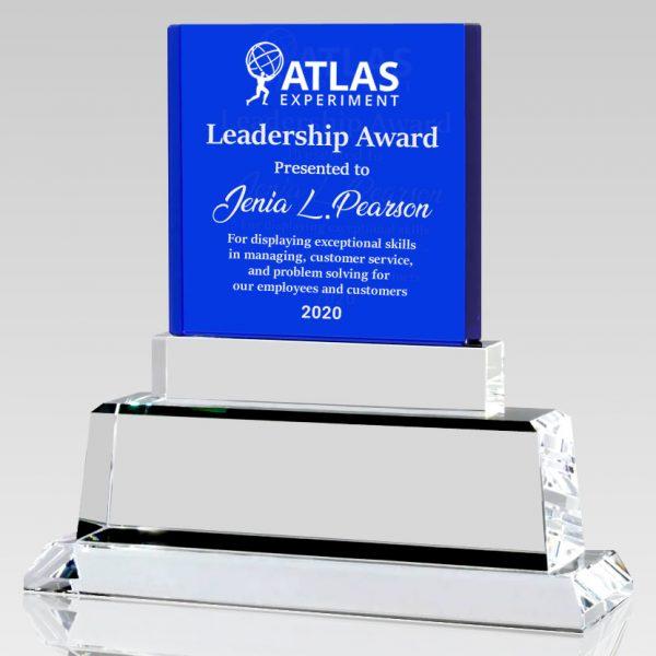 blue crystal square trophy award