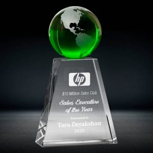 green crystal globe trophy
