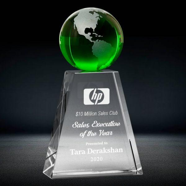 green crystal globe trophy