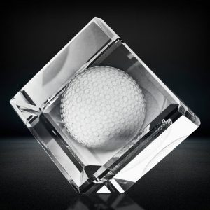 3d crystal golf ball cube paperweight