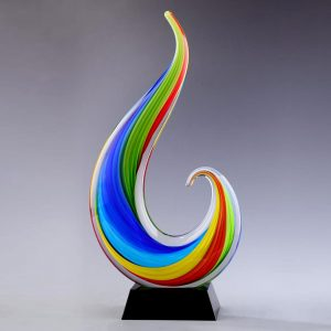 rainbow colored art glass flame award