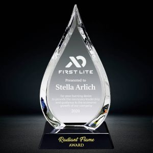 crystal flame plaque award