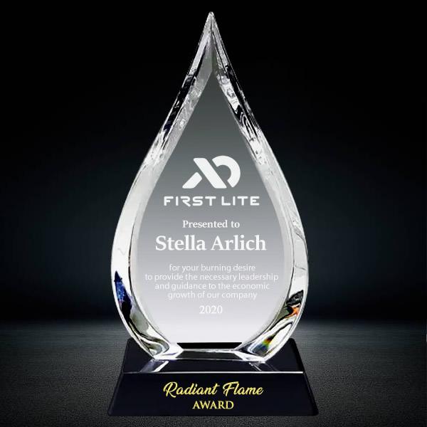 crystal flame plaque award