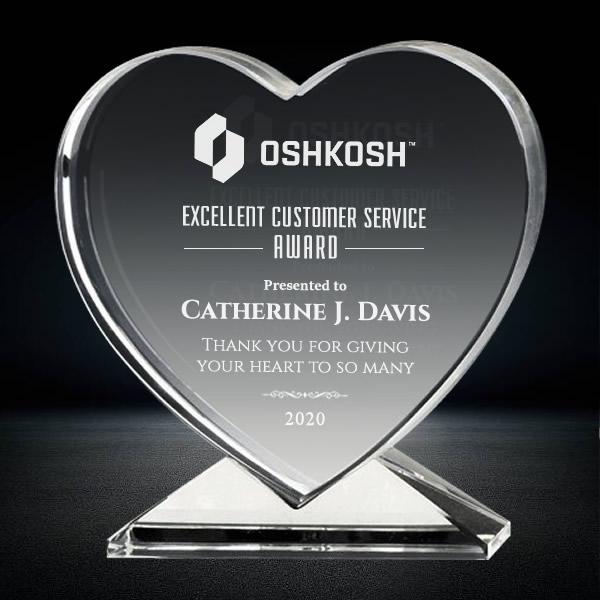 heart shaped crystal plaque award