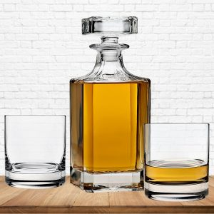 square crystal whiskey decanter set with glasses
