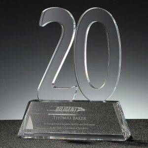 clear crystal 20 years service award