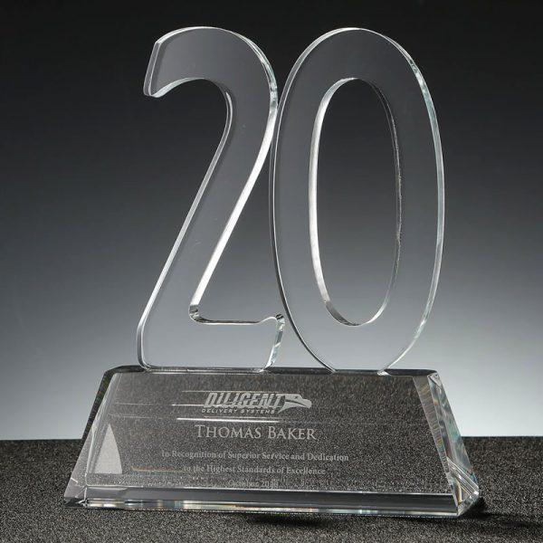 clear crystal 20 years service award