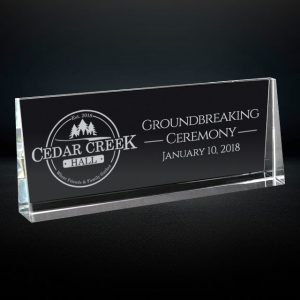 crystal rectangle wedge award
