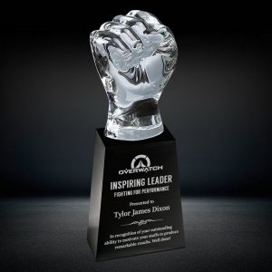 heavy crystal fist trophy