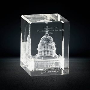 3d laser crystal cube with white house building