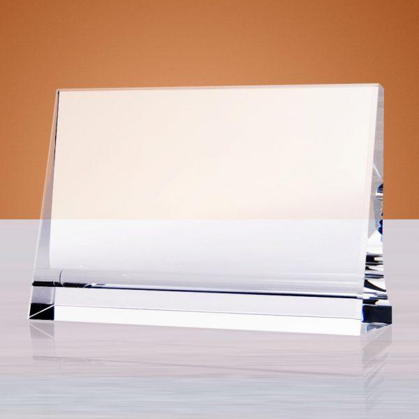 blank crystal horizontal wedge plaque award