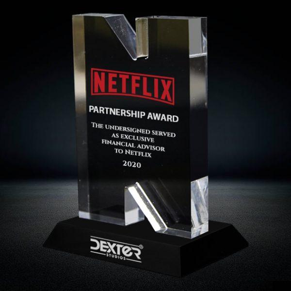 3d crystal letter N award