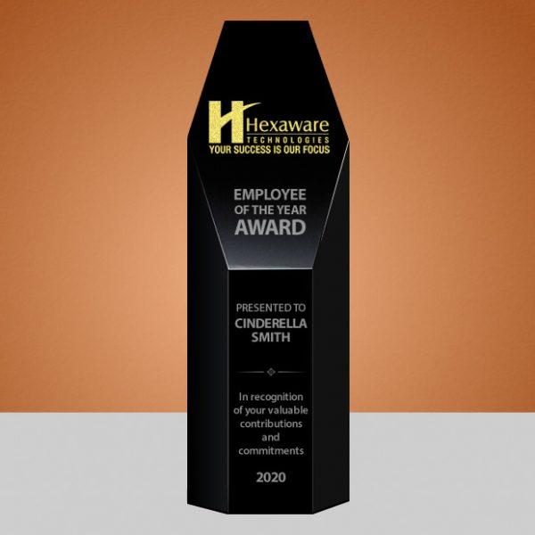 black crystal hexagon tower award