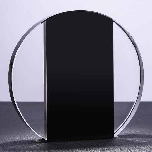 freestanding clear and black crystal circle plaque award blank