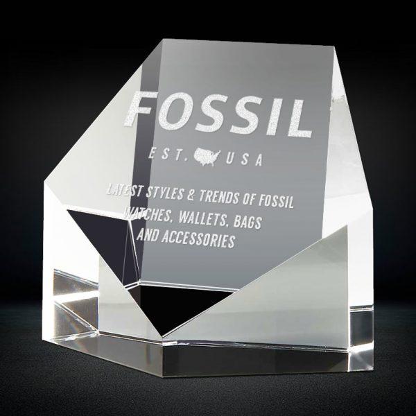 slanted pentagon shape crystal paperweight