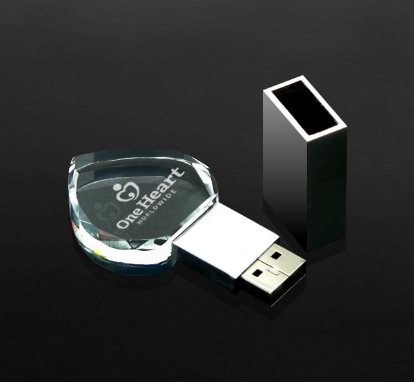 heart shaped crystal USB memory stick