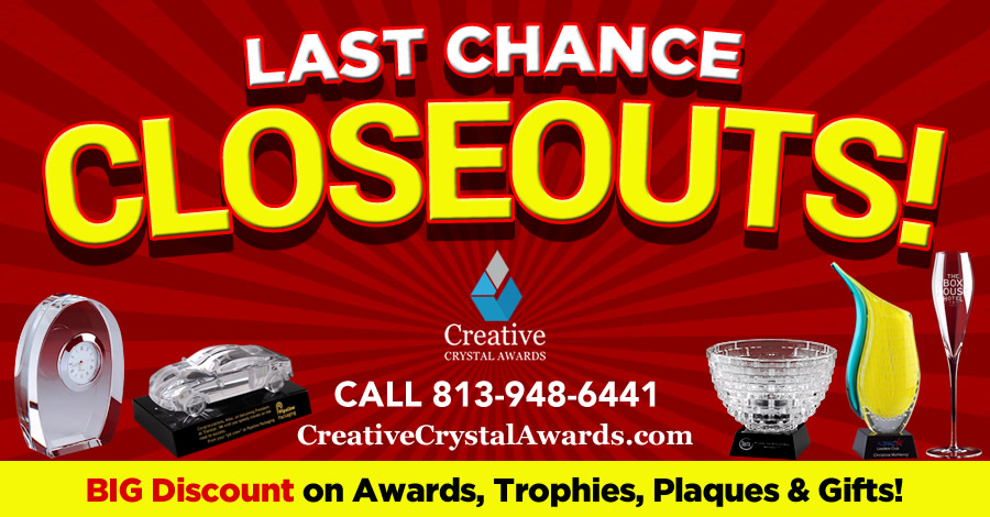 Year End Corporate Crystal Gift Awards Stock Clearance Sale