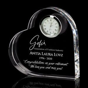 crystal heart clock