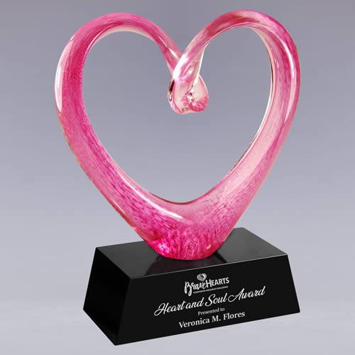 hand blown pink heart art glass trophy award